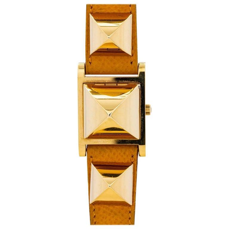 Hermes Ladies Gold Plate stainless steel Medor yellow strap quartz Wristwatch