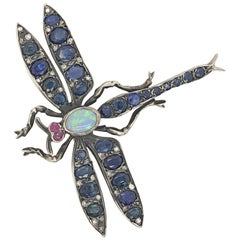 Dragonfly Pin with Sapphires Diamond, Ruby and Opal in 14 Karat and Sterling