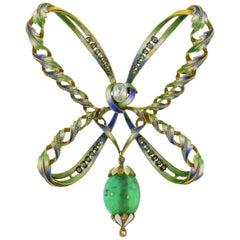 Art Nouveau Enamel Gold Pin Brooch Clip Diamond Emerald, French