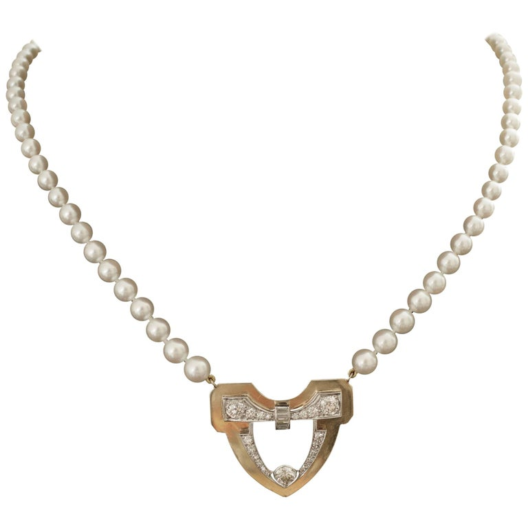 Platinum and Yellow Gold Diamond and Pearl Necklace, circa 1930s-1950s