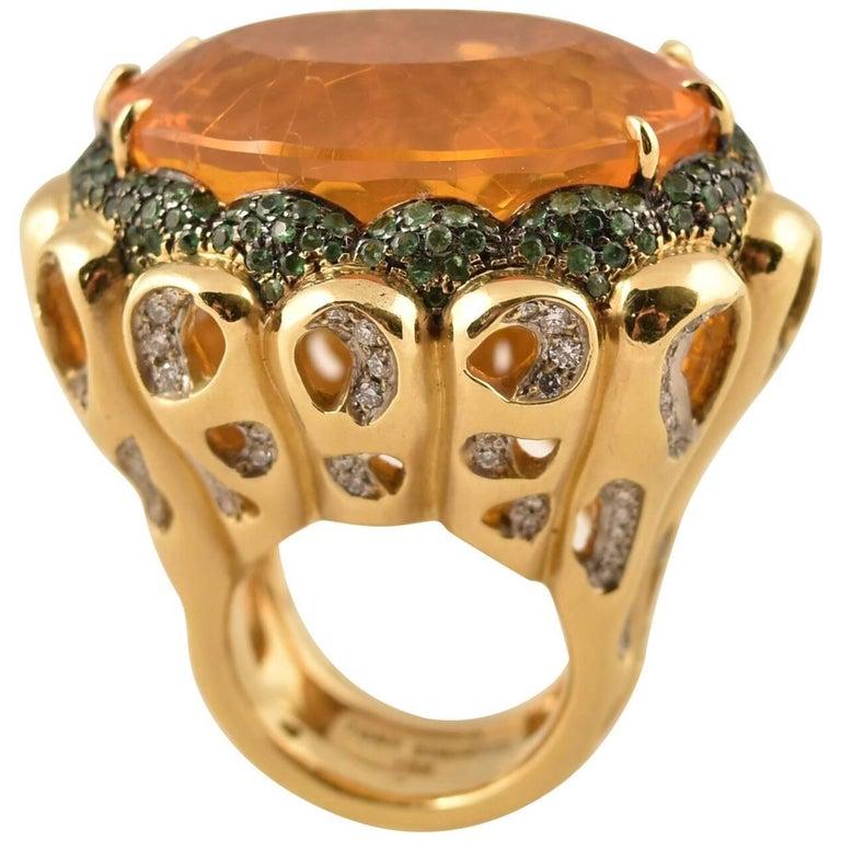 Beautiful Tony Duquette Fire Opal, Tsavorite and Diamond Gold Statement Ring