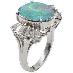 1970 Platinum Cocktail Ring Opal Doublet Diamond Baguette
