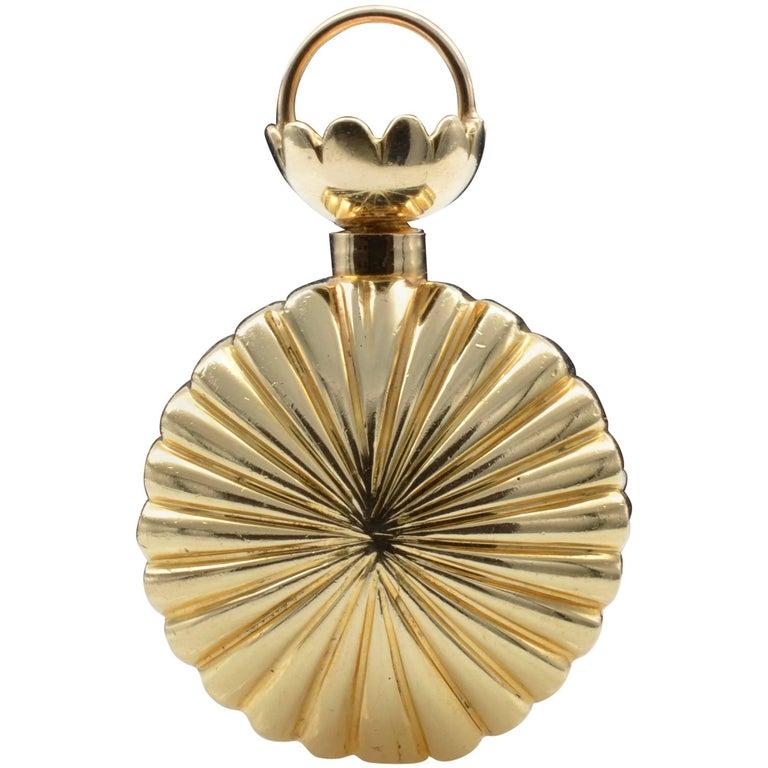 Gold Fluted Perfume Bottle Pendant