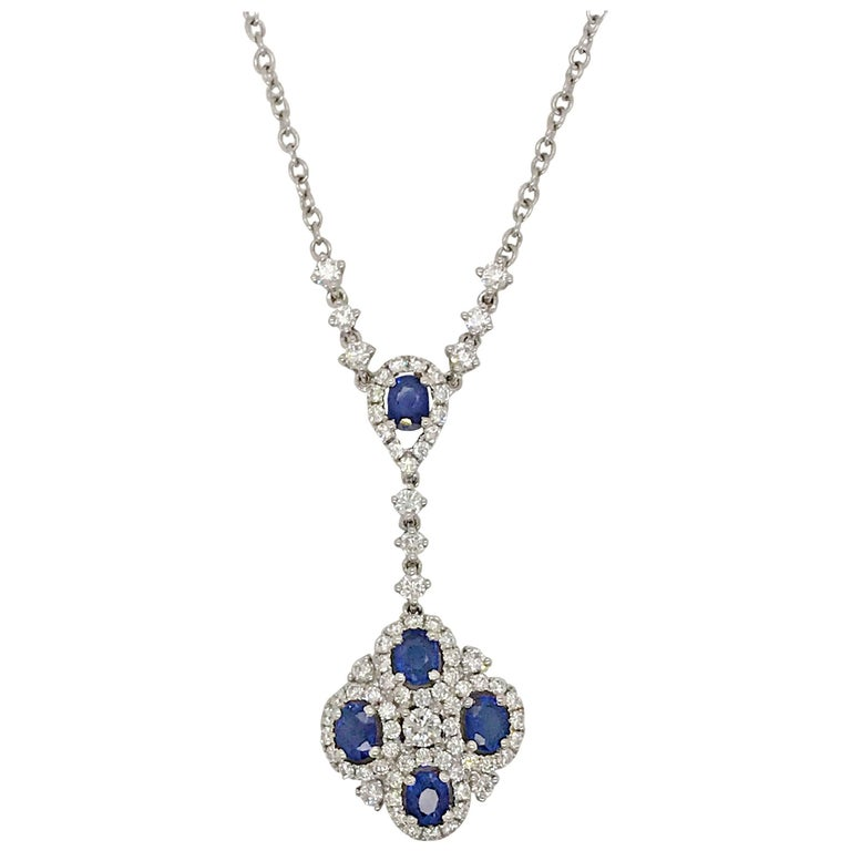 Sapphire and Diamond Necklace For Sale