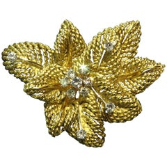 Classic Multi Leaf Design Diamond Gold Flower Motif Pin