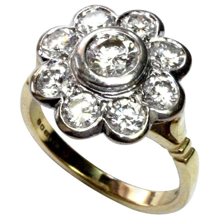 White Diamond 18 Karat Yellow Gold Flower Cluster Engagement Ring