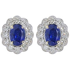 Sapphire and Diamond Earrings in 18 Karat in White Gold