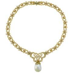 Buccellati Baroque Pearl Diamond Gold Necklace