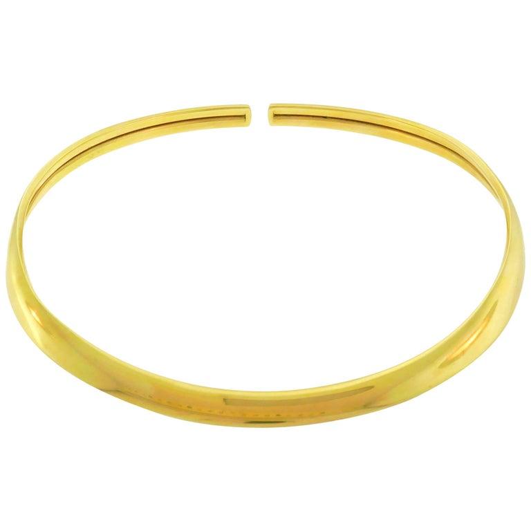 1990s Hermes 18 Karat Yellow Gold Choker Necklace