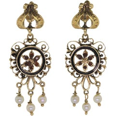 Vintage Pearl Enamel Earrings