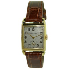 Waltham Yellow Gold Filled Deco Tank Style Watch with Original Patinated Dial