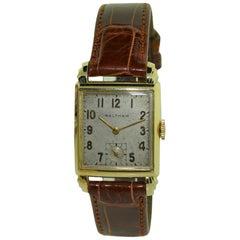 Waltham 14 Karat Gold Art Deco Tank Style Watch with Original Patinated Dial
