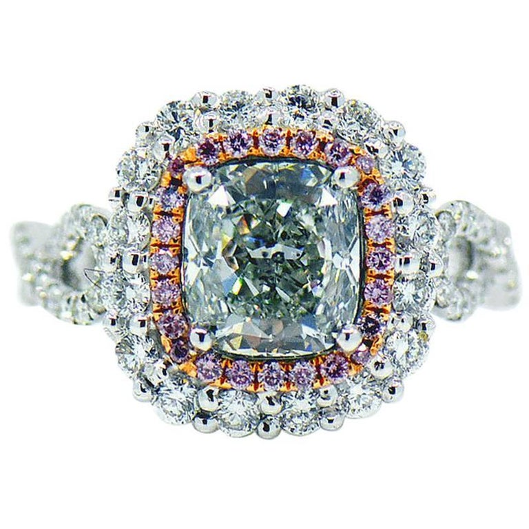 Natural Fancy Green & Pink Diamond Ring, 3.57 ctw. 18K With GIA Report