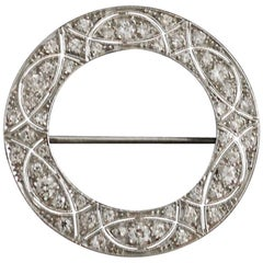 Platinum Diamond Circle Brooch, circa 1920s 2.30 Carat