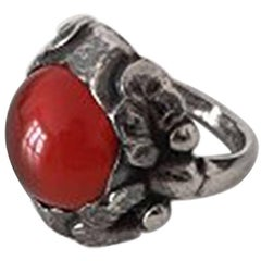 Georg Jensen Sterling Silver Ring with Red Stone No 11a from 1933-1944