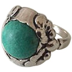 Georg Jensen Silver Ring with Green Agate No 11A