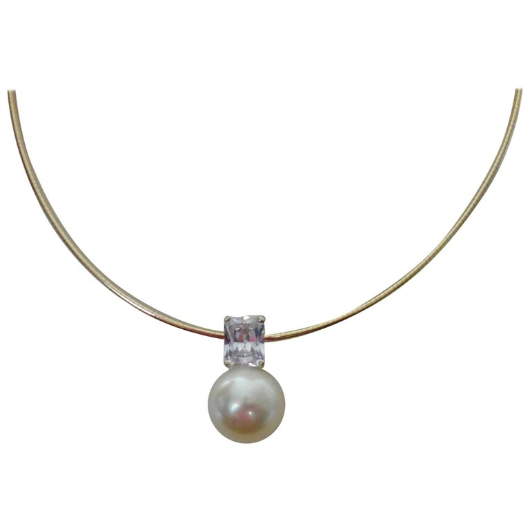 Michael Kneebone Paspaley South Seas Pearl White Sapphire Omega Necklace