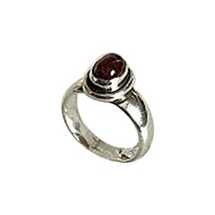 Georg Jensen Sterling Silver Ring No 46 Carat with Red Stone