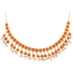 Indian Coral Pearl Gold Necklace