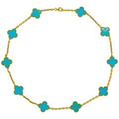 Van Cleef & Arpels Vintage Alhambra Ten Motif Turquoise Necklace