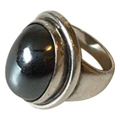 Georg Jensen Sterling Silver Ring No 46A with Hematite