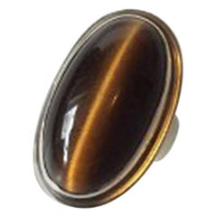 Georg Jensen Sterling Silver Ring with Tiger's Eye No 46E