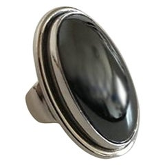 Georg Jensen Sterling Silver Ring No 46E with Hematite Stone