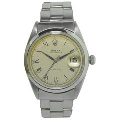 Rolex Steel Oyster Date with Rare Original Dial and Riveted Bracelet, circa 1956