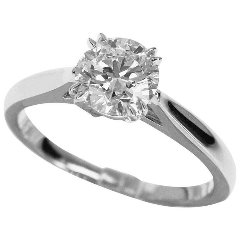 Harry Winston Solitaire Round Brilliant 0.73 Carat Diamond Platinum Ring