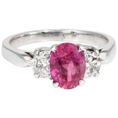 Ruby Diamond Engagement Ring Vintage 14 Karat White Gold