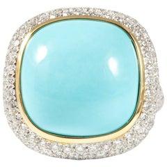 18 Karat White Gold Turquoise and Diamond Cocktail Ring