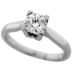 Harry Winston 0.54 Carat Diamond Platinum HW Ring US 4.5-5