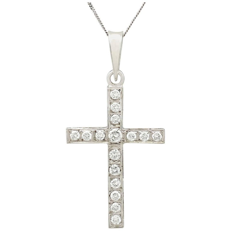 1950s Diamond and White Gold Cross Pendant