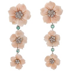 Flower Pink Coral, Emeralds White Gold Dangle Earrings