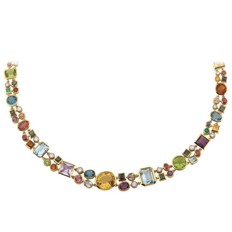 Multicolored Gemstone and Diamond Tutti Frutti Necklace