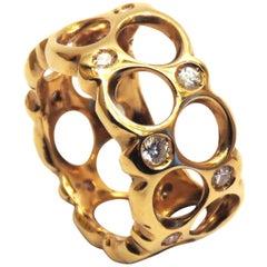 Diamonds 18 Carat Rose Gold Band Ring Modern Design