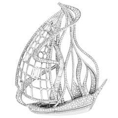 Lorenz Bäumer's Unique Boat Diamonds White Gold Brooch