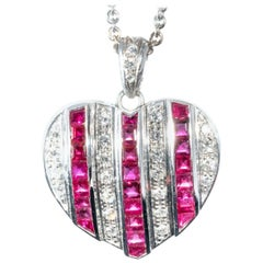 Diamond Ruby Studded White Gold Heart Pendant Necklace Enhancer