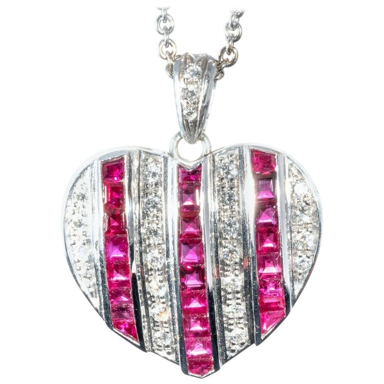 Diamond Ruby Studded 18K White Gold Heart Pendant Necklace Enhancer