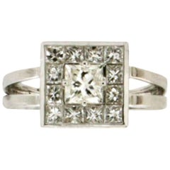 2.36 karat Diamonds 18 karat White Gold Princess Cut Ring