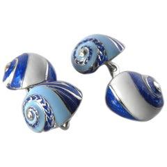 Blue White Light Blue Hand Enamelled Seashell Shaped Sterling Silver Cufflinks