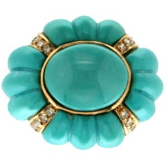 Turquoise 18 Carat White and Yellow Gold Diamonds Cocktail Ring