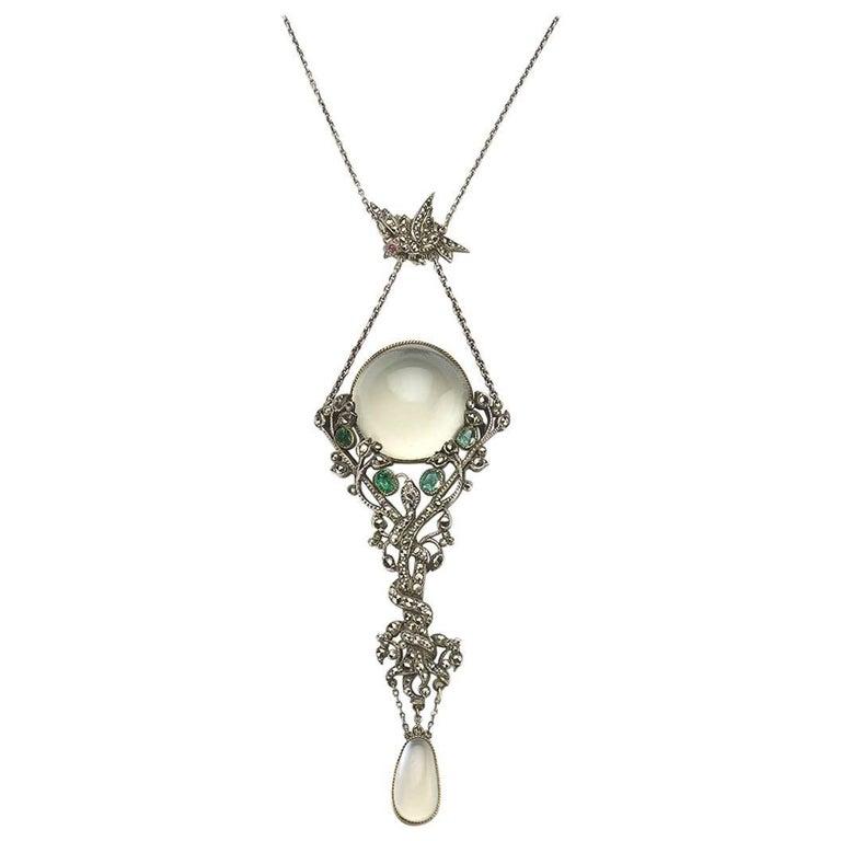 Art deco jet and marcasite pendant for sale at 1stdibs art nouveau moonstone emerald and marcasite pendant aloadofball Choice Image
