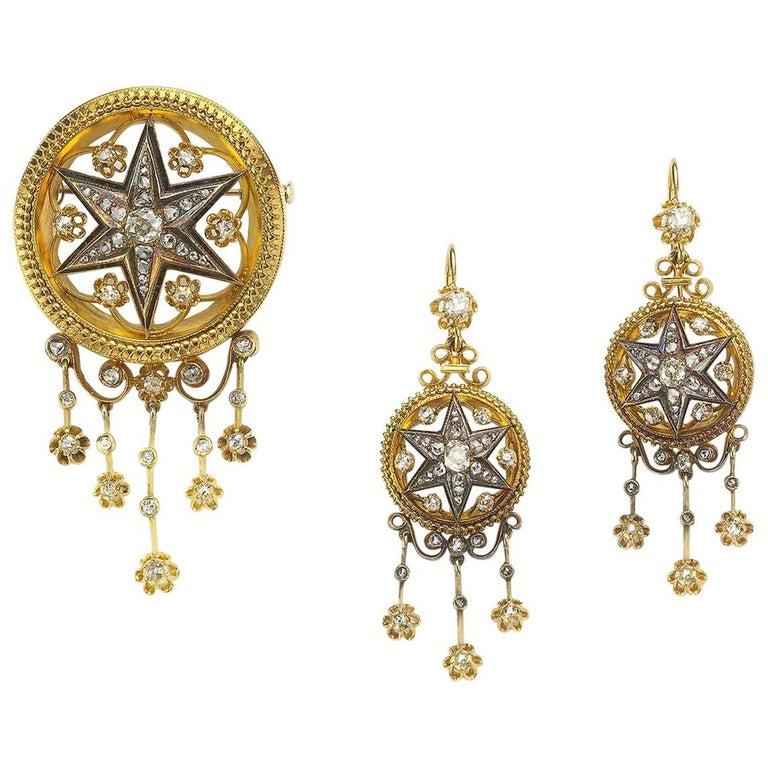 Victorian Diamond Gold Enamel Brooch and Earrings Suite