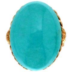 14 Carat Yellow Gold Turquoise Ring