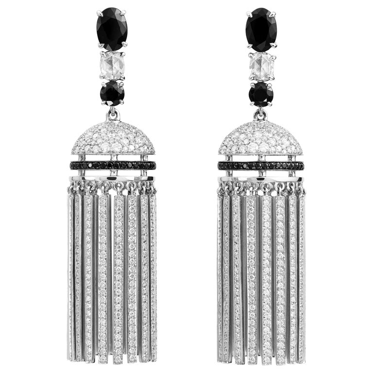 Lorenz Bäumer Sapphires Diamonds White Gold Pompom Pendant Earrings