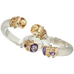 Amethyst, Citrine and Peridots Yellow Gold & Silver Manpriya B Cuff Bangles Pair