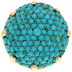 Turquoise 18 Carat Yellow Gold Cocktail Ring