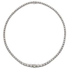 Diamond Platinum Riviere Necklace 25.00 Carat