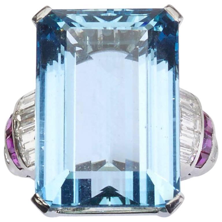 Aquamarine, Diamond and Ruby Ring